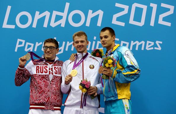 Роман Дубовой (Россия), Игорь Бокий (Белоруссия), Данила Чуфаров (Украина), 200 м комплекс, класс SM13