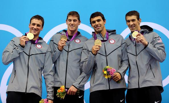 США (слева-направо: Лохте Райан, Дайер Конор, Беренз Рикки, Фелпс Майкл)